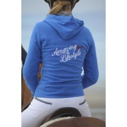 "Sweat zippé ""Amazing Lifestyle"" - Bleu roi"