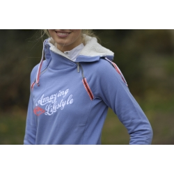 "Sweat double zip ""Amazing Lifestyle"" Bleu lavand"