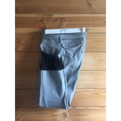 Pantalon d'équitation gris clair point sellier blanc