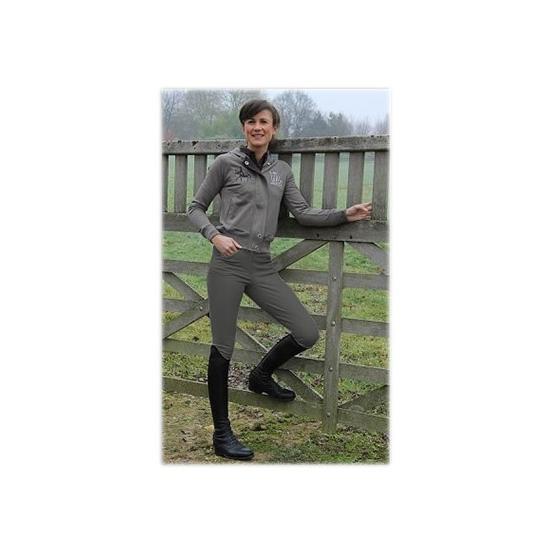 Pantalon d'équitation - gris foncé galon blanc